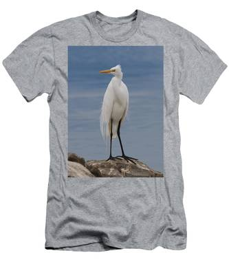 Men's T-Shirt (Athletic Fit) featuring the photograph Great Egret - 3 by Christy Pooschke
