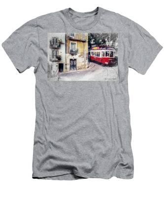 Historic Lisbon Tram Men's T-Shirt (Athletic Fit)
