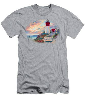 Lighthouse At Sunset Men's T-Shirt (Athletic Fit)
