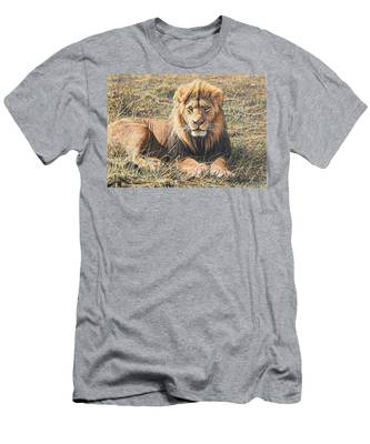 Male Lion Portrait Men's T-Shirt (Athletic Fit)