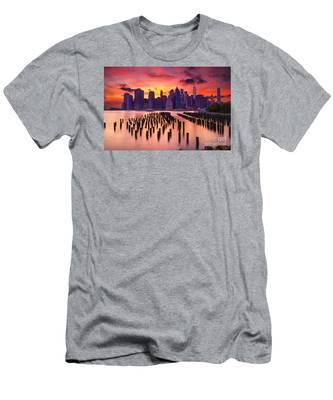 Manhattan Sunset Men's T-Shirt (Athletic Fit)