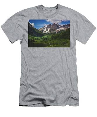 Men's T-Shirt (Athletic Fit) featuring the photograph Maroon Lake And Maroon Bells by Andy Konieczny