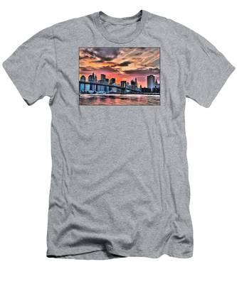 New York Sunset Men's T-Shirt (Athletic Fit)