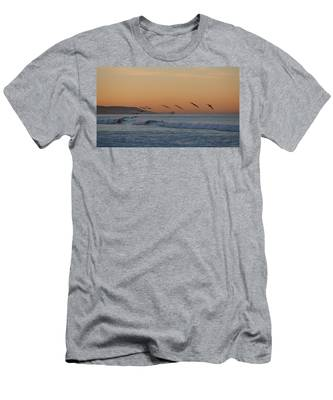 Men's T-Shirt (Athletic Fit) featuring the photograph Pelican Wave - 4 by Christy Pooschke