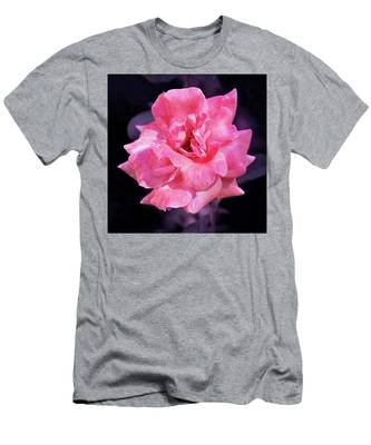 Pink Rose With Violet Men's T-Shirt (Athletic Fit) by Howard Bagley
