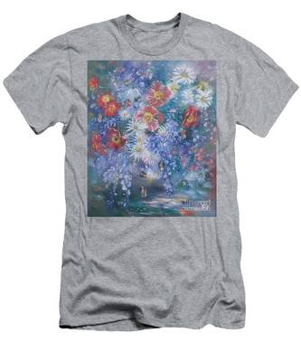 Poppies, Wisteria And Marguerites Men's T-Shirt (Athletic Fit)