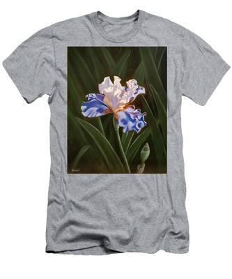 Purple And White Iris Men's T-Shirt (Athletic Fit)
