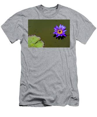 Men's T-Shirt (Athletic Fit) featuring the photograph Purple Lily With Tiny Fish by Dennis Dame
