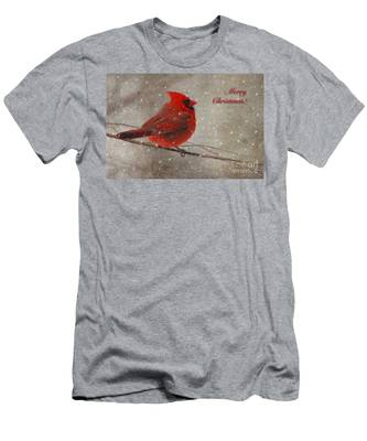 Red Bird In Snow Christmas Card Men's T-Shirt (Athletic Fit)