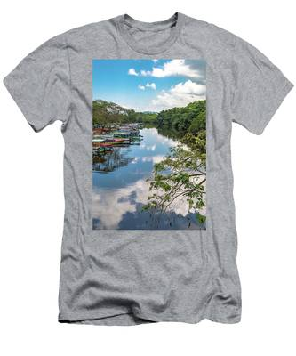 River Boats Docked In Negril, Jamaica Men's T-Shirt (Athletic Fit)
