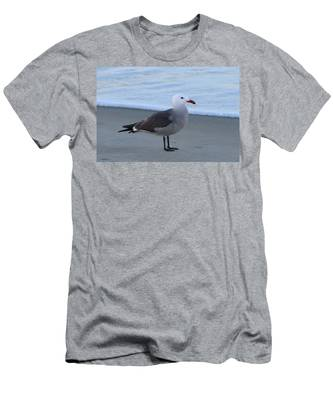 Men's T-Shirt (Athletic Fit) featuring the photograph Sea Gull On The Beach - 3 by Christy Pooschke