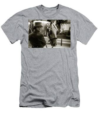 Men's T-Shirt (Athletic Fit) featuring the photograph Sepia Carriage Horse With Handler by Dennis Dame