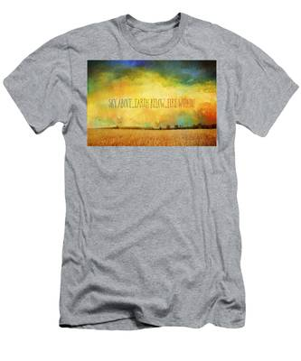 Sky Above Earth Below Fire Within Quote Farmland Landscape Men's T-Shirt (Athletic Fit)
