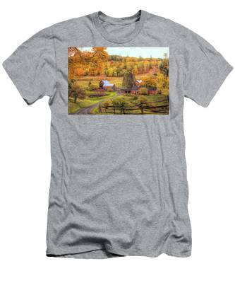 Men's T-Shirt (Athletic Fit) featuring the photograph Sleepy Hollow - Pomfret Vermont In Autumn by Jeff Folger