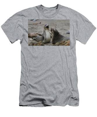 Men's T-Shirt (Athletic Fit) featuring the photograph Sparring Seals  by Christy Pooschke