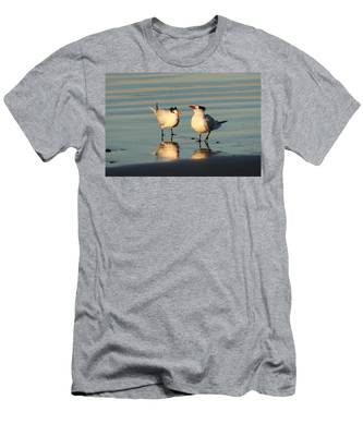 Men's T-Shirt (Athletic Fit) featuring the photograph Terns On The Beach  by Christy Pooschke