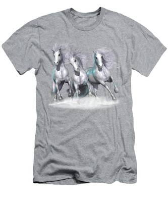 Trinity Galloping Horses Blue Men's T-Shirt (Athletic Fit)