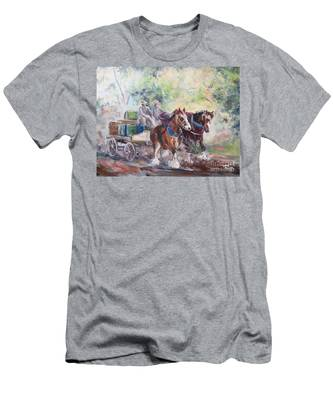 Working Clydesdale Pair, Victoria Breweries. Men's T-Shirt (Athletic Fit)