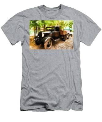 Men's T-Shirt (Athletic Fit) featuring the photograph Antique Black Truck by Ola Allen