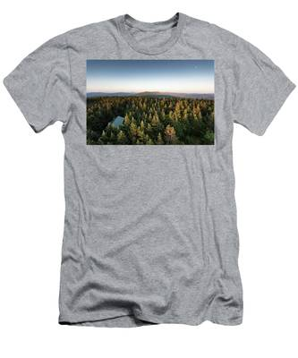 Men's T-Shirt (Athletic Fit) featuring the photograph Balsam Lake Mountain Sunset Moon by Brad Wenskoski