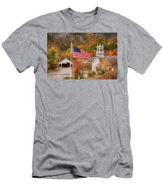 Men's T-Shirt (Athletic Fit) featuring the photograph Flag Flying Over The Stark Covered Bridge by Jeff Folger