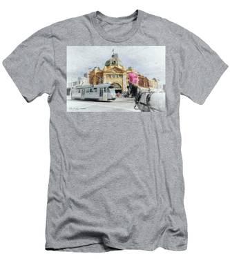 Flinders Street Station, Melbourne Men's T-Shirt (Athletic Fit)