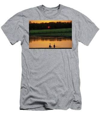 Gettysburg Pennsylvania - Sunrise On A Duck Pond Men's T-Shirt (Athletic Fit) by Bill Cannon