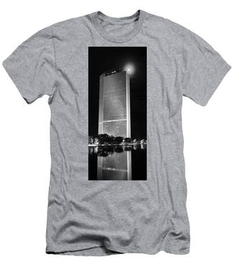 Men's T-Shirt (Athletic Fit) featuring the photograph Moon Over Corning by Brad Wenskoski