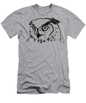 Owl On Burlap Men's T-Shirt (Athletic Fit)
