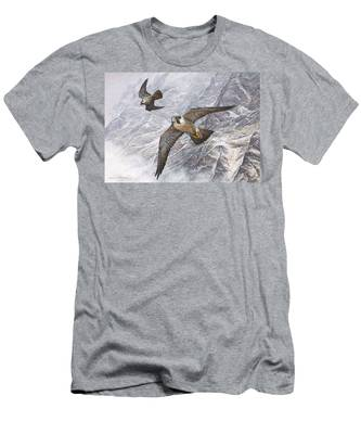 Pair Of Peregrine Falcons In Flight Men's T-Shirt (Athletic Fit)