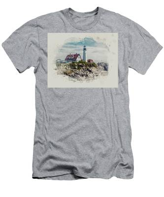 Portland Head Lighthouse Cape Elizabeth Maine Men's T-Shirt (Athletic Fit)