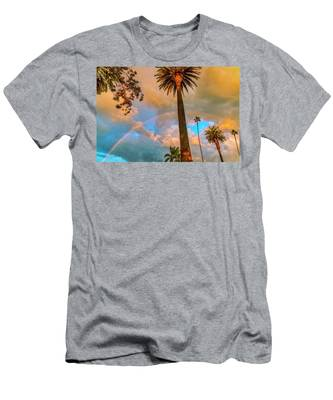 Rainbow Over The Palms Men's T-Shirt (Athletic Fit)