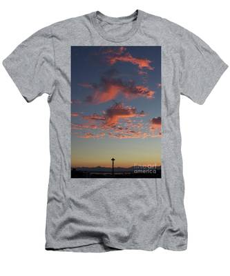 Space Needle And Pink Clouds Men's T-Shirt (Athletic Fit)