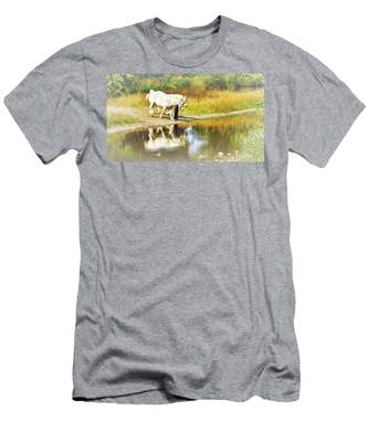 Men's T-Shirt (Athletic Fit) featuring the photograph Leading The Horses To Water by Ola Allen