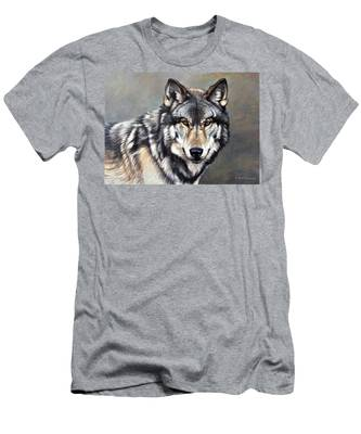 Timber Wolf By Alan M Hunt Men's T-Shirt (Athletic Fit)