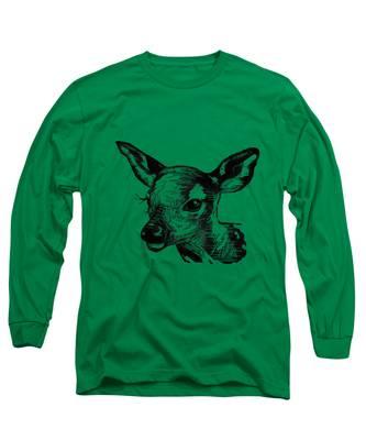 Deer On Burlap Long Sleeve T-Shirt