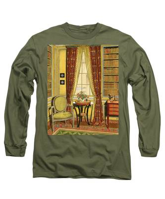 A Yellow Library With A Vase Of Flowers Long Sleeve T-Shirt