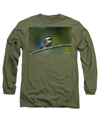 Chestnut Backed Chickadee Perched On A Branch Long Sleeve T-Shirt
