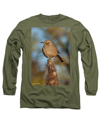 Curve-billed Thrasher On A Cactus Long Sleeve T-Shirt