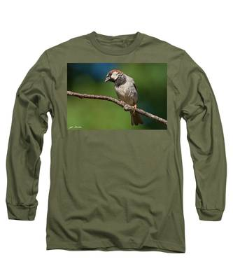 Male House Sparrow Perched In A Tree Long Sleeve T-Shirt