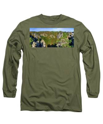 Panoramic View Of The Elbe Sandstone Mountains Long Sleeve T-Shirt