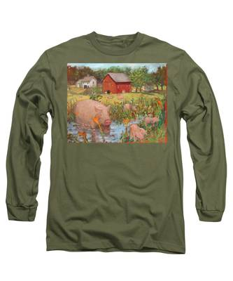 Pigs And Lilies Long Sleeve T-Shirt