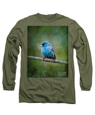 Bird In Blue Indigo Bunting Ginkelmier Inspired Long Sleeve T-Shirt