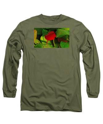 Bold Red Sea Grape Leaf Long Sleeve T-Shirt