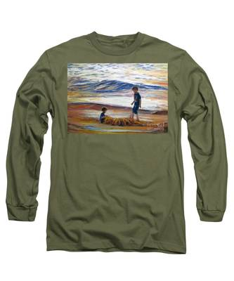 Boys Playing At The Beach Long Sleeve T-Shirt