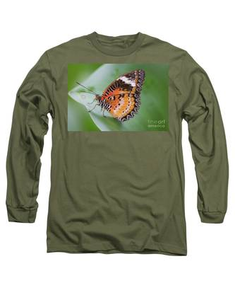 Butterfly On The Edge Of Leaf Long Sleeve T-Shirt