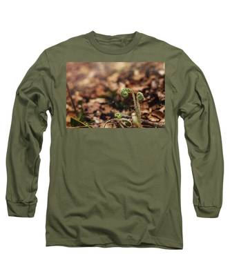 Coiled Fern Among Leaves On Forest Floor Long Sleeve T-Shirt