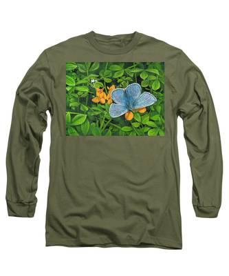 Common Blue On Bird's-foot Trefoil Long Sleeve T-Shirt