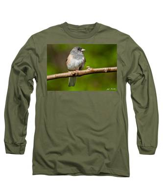 Dark Eyed Junco Perched On A Branch Long Sleeve T-Shirt