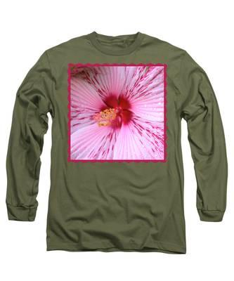 Pink Hibiscus Macro Long Sleeve T-Shirt